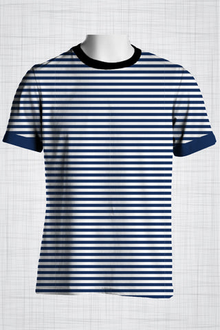 Plus Size Men's Clothing Nautical Bold blue stripe t-shirt