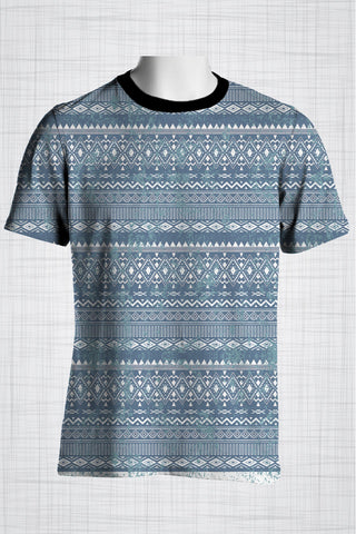 Plus Size Men's Clothing Blue Tribal t-shirt