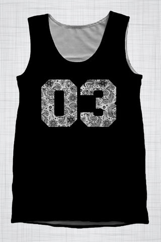 Plus Size Men's Clothing 03 B&W Paisley singlet