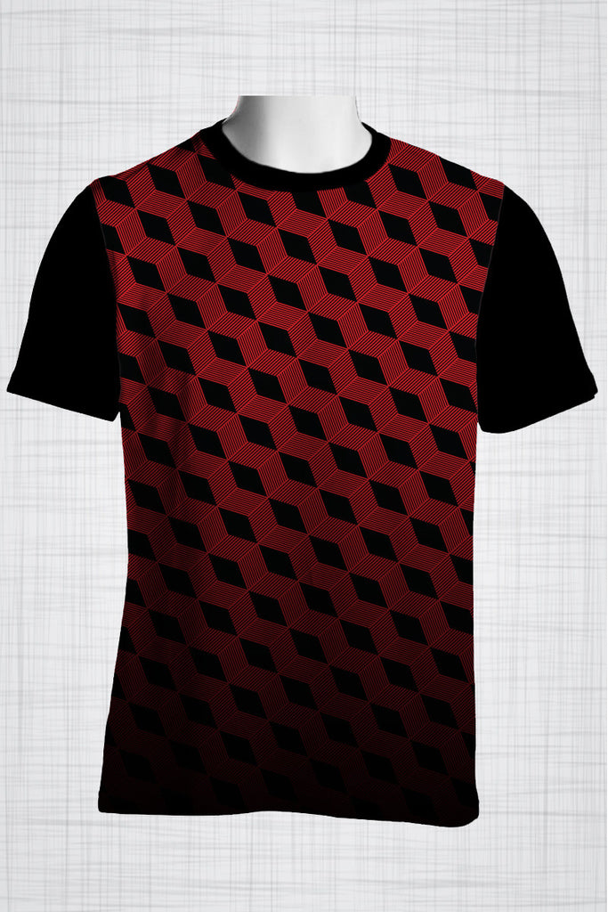 Plus Size Men's Clothing Red Illusion t-shirt FF0022