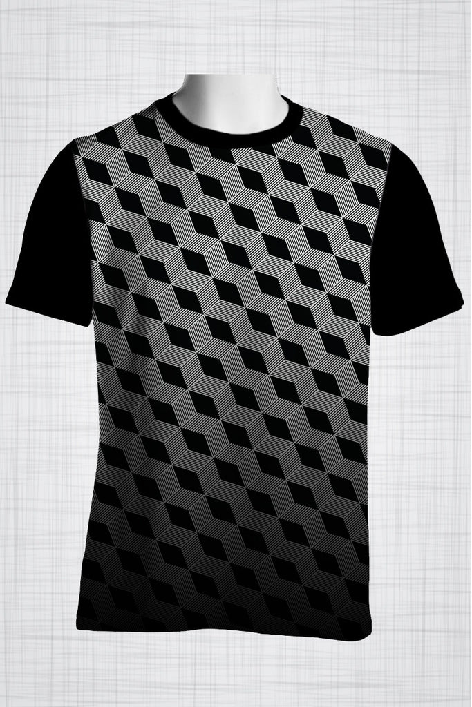 Plus Size Men's Clothing Black & White square print FF0022