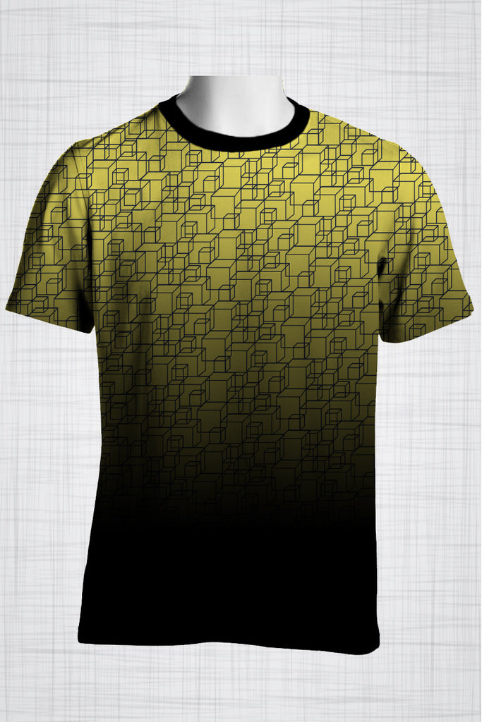 Plus Size Men's Clothing Yellow cubes  t-shirt FF0055