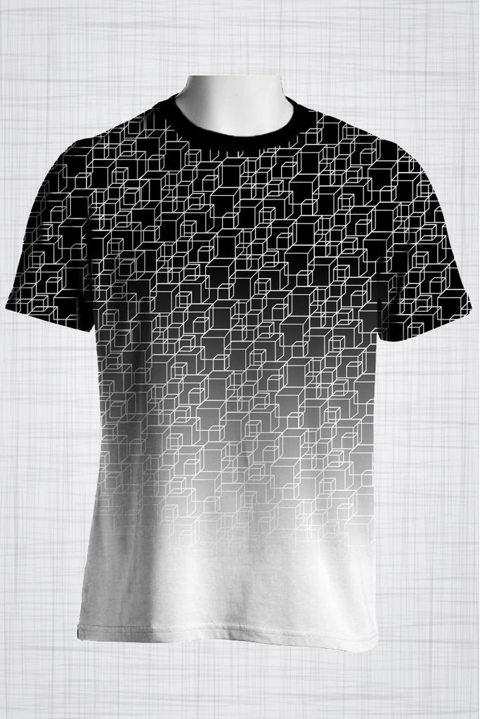 Plus Size Men's Clothing Black & White illusion print FF0055