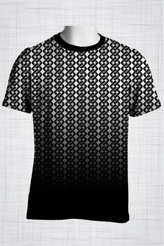 Plus Size Men's Clothing Black & White chain link print FF0725