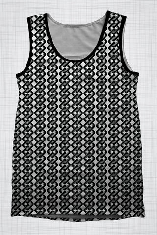 Plus Size Men's Clothing Black & White Chain Link singlet FF0725