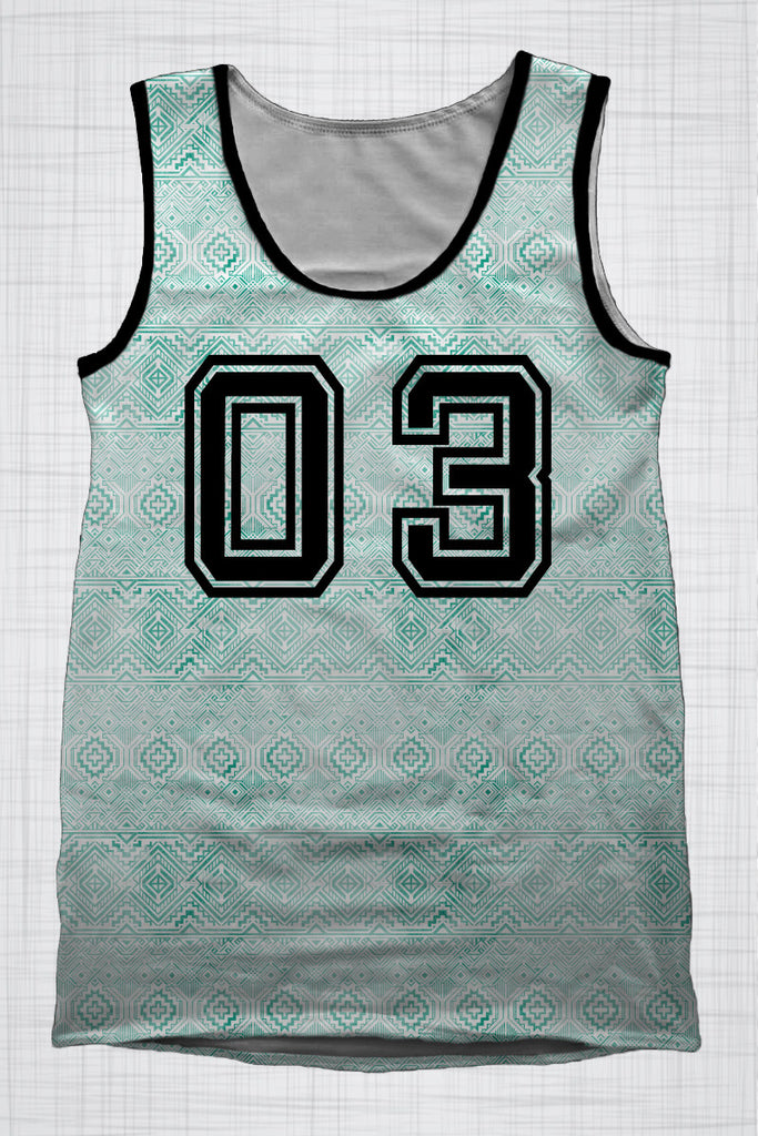 Plus Size Men's Clothing Green Tribal singlet