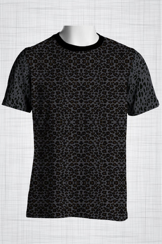 Plus Size Men's Clothing Grey Leopard print t-shirt