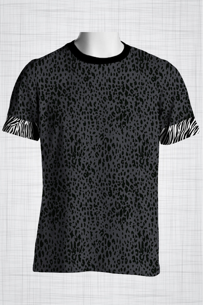 Plus Size Men's Clothing Leopard print t-shirt