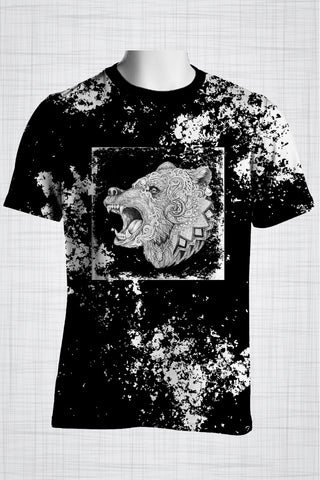 Plus Size Men's Clothing Black Tribal Bear t-shirt