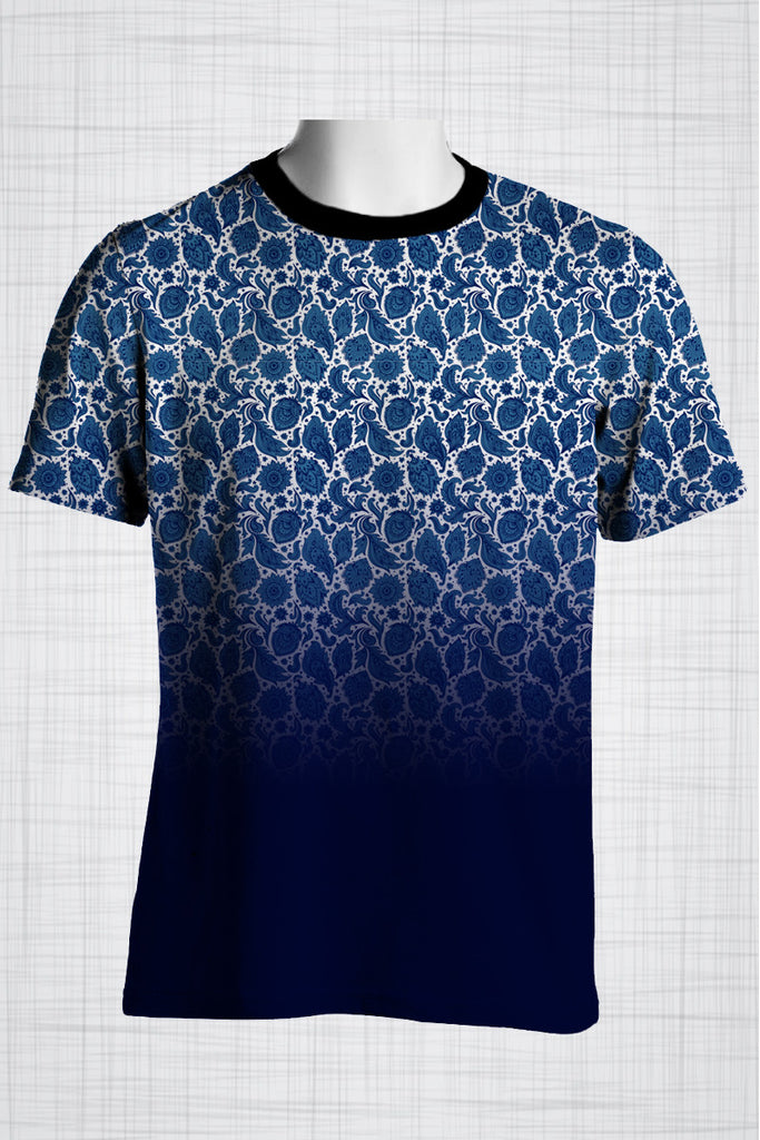 Plus Size Men's Clothing Blue gradient paisley print CC0416