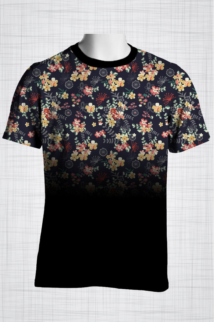 Plus Size Men's Clothing Mixed flowers t-shirt