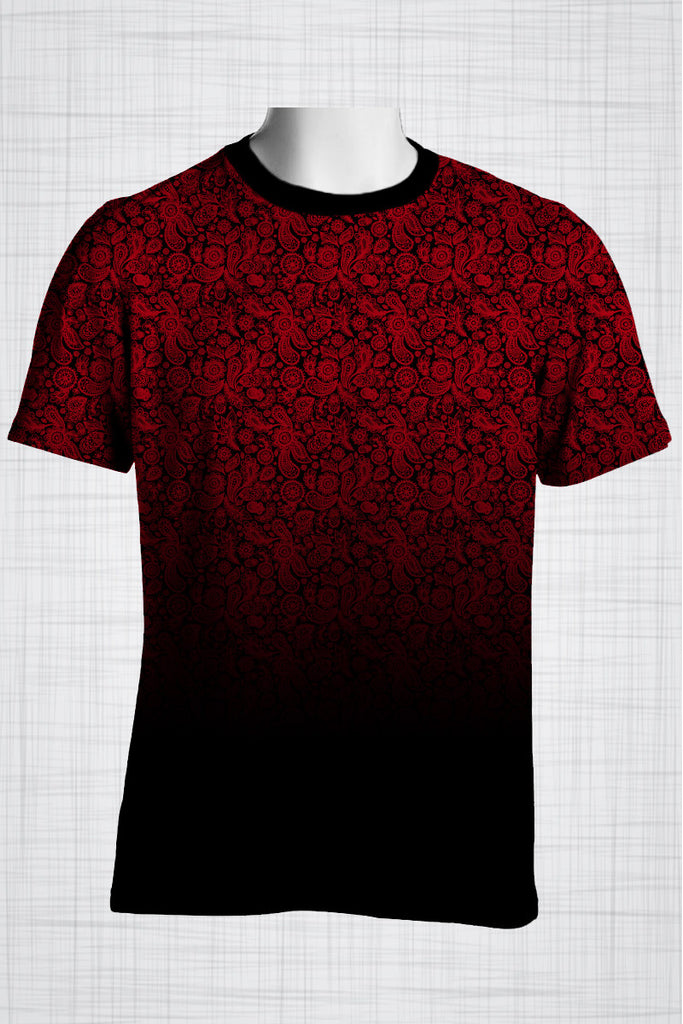 Plus Size Men's Clothing Red paisley print CC0444