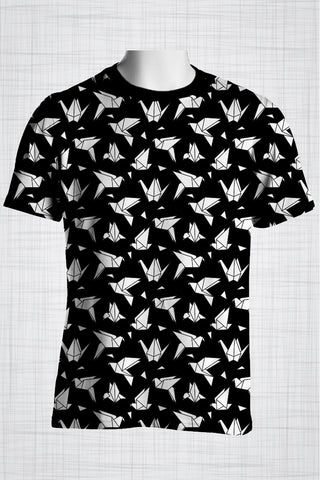 Plus Size Men's Clothing Black Origami t-shirt