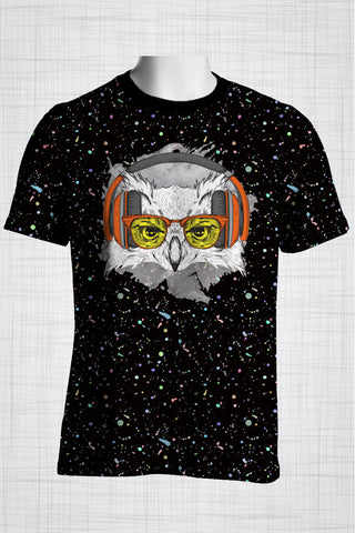 Plus Size Men's Clothing Owl Orange t-shirt