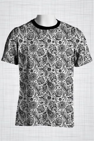 Plus Size Men's Clothing Black and white paisley print
