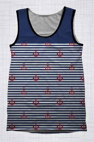 Plus Size Men's Clothing Nautical Red Anchors singlet
