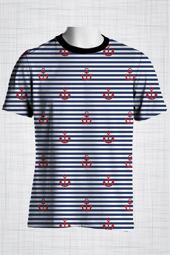 Plus Size Men's Clothing Nautical Red Anchor t-shirt