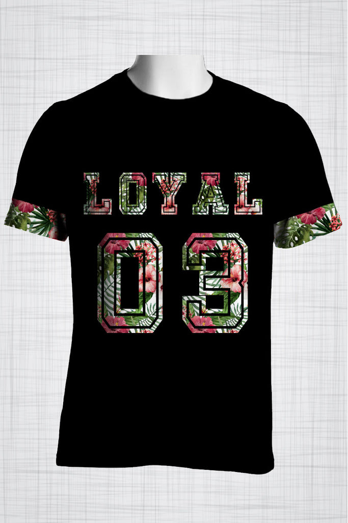 Plus Size Men's Clothing Hibiscus LOYAL 03 t-shirt T001