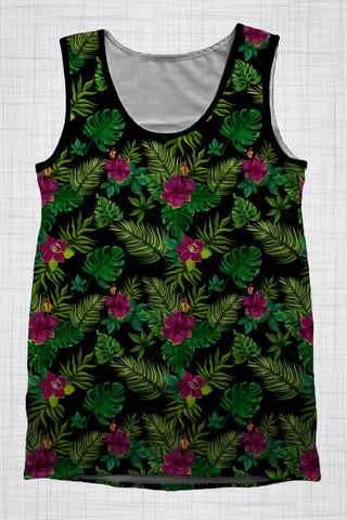 Plus Size Men's Clothing Hibiscus singlet T003