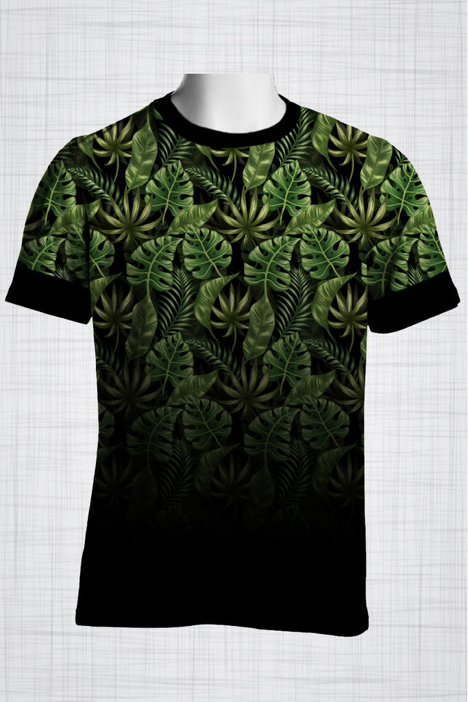 Plus Size Men's Clothing Palm leaves t-shirt T004