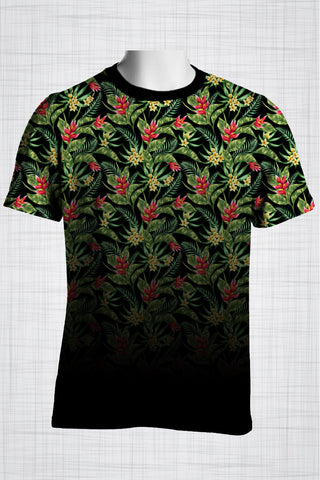 Plus Size Men's Clothing Red Heliconia t-shirt T005