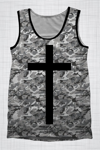 Plus Size Men's Clothing Camo Grey singlet