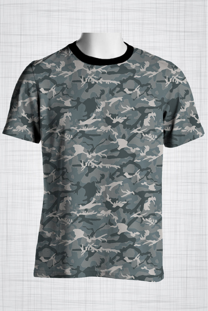 Plus Size Men's Clothing Full Camo Grey t-shirt