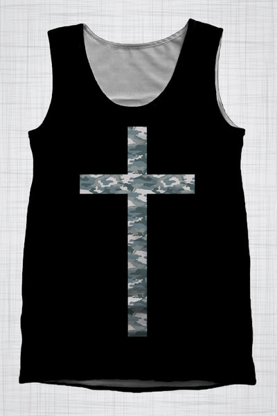 Plus Size Mens Clothing Camo Cross singlet