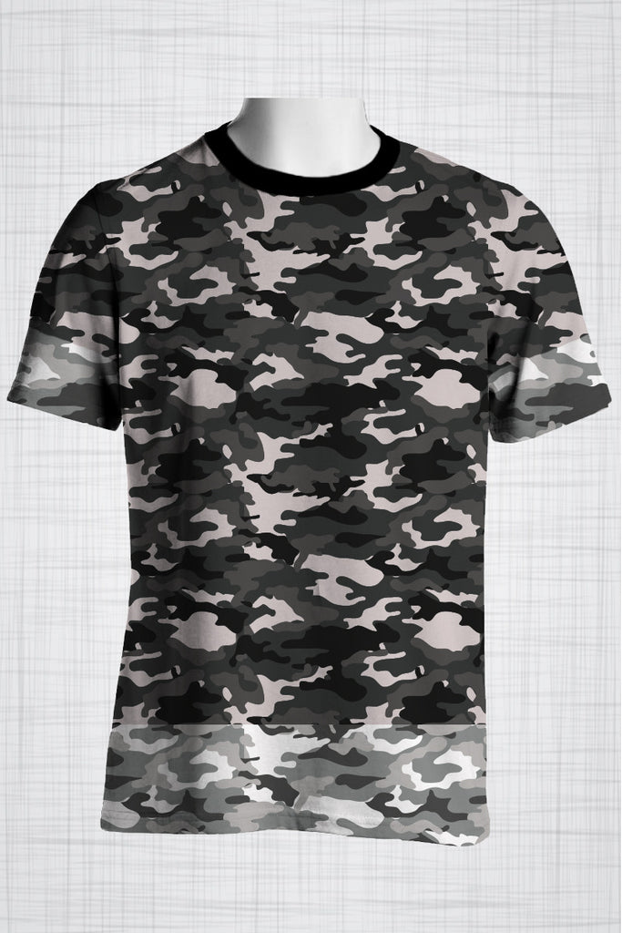 Plus Size Men's Clothing Camo grey, light edges t-shirt