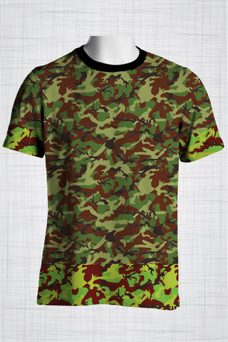 Plus Size Men's Clothing Camo green, light edges t-shirt
