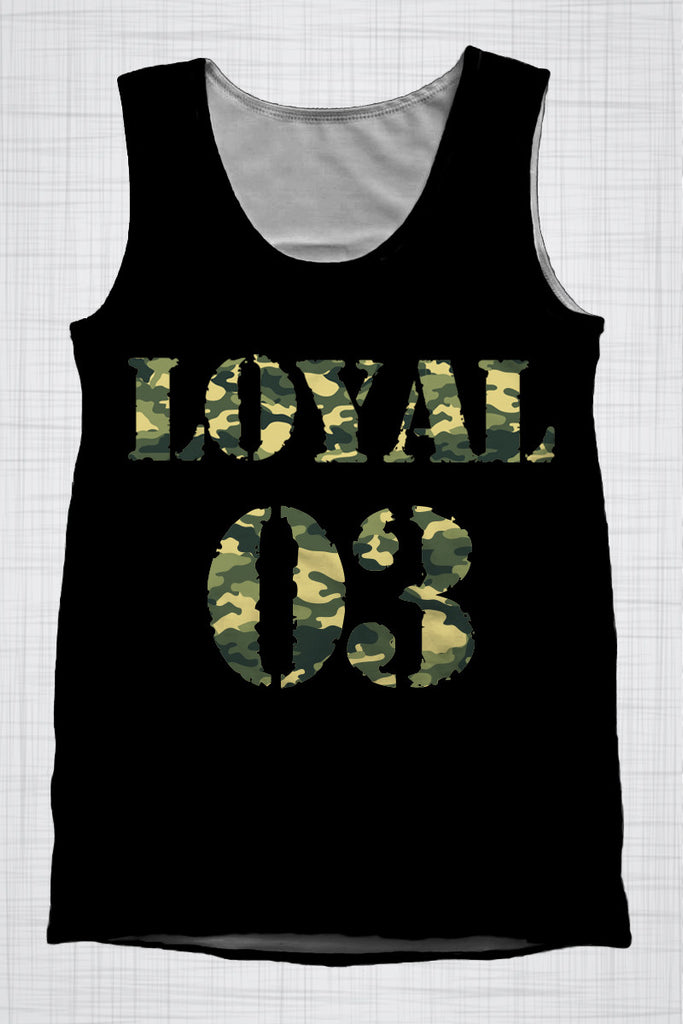 Plus Size Men's Clothing Camo Black LOYAL 03 singlet