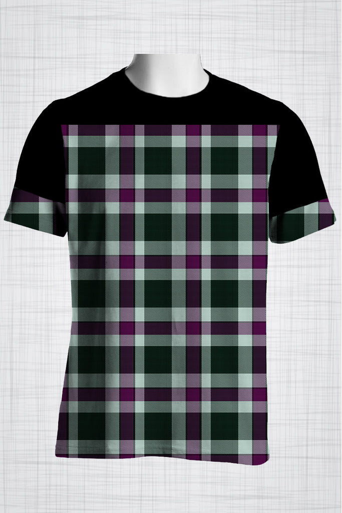 Plus Size Men's Clothing Purple Checkers
