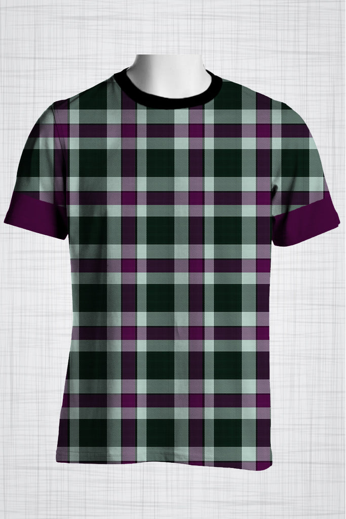 Plus Size Men's Clothing Purple Checkers with purple bands