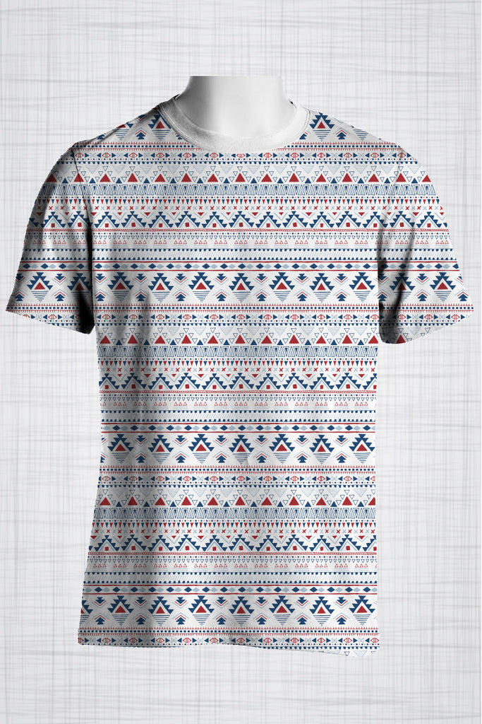 Plus Size Men's Clothing Blue & Red Tribal t-shirt