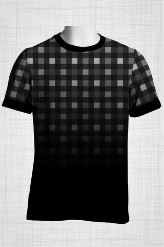 Plus Size Men's Clothing Black and white checkered t-shirt BB0156