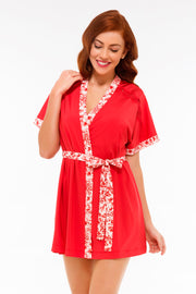 Floral Impressions Robe S / Tomato Puree - amanté Sleepwear