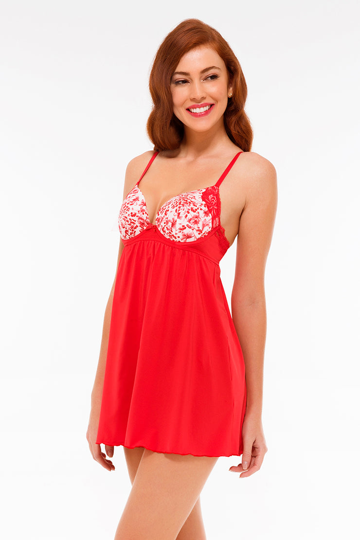 Floral Impressions Plunge Babydoll S / Tomato Puree - amanté Sleepwear