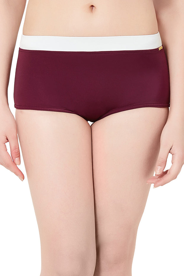 Boyshort Swim Bottom S / Red Purple-Ivory - amanté Swimwear