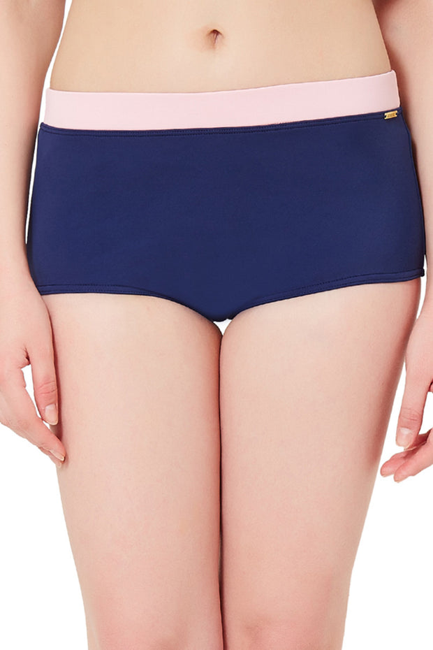 Boyshort Swim Bottom S / Navy-Scarlet Pink - amanté Swimwear