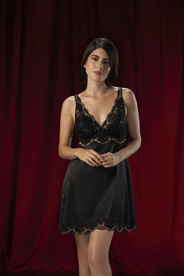 Eternal Romance Satin Lace Babydoll M / Black - amanté Sleepwear