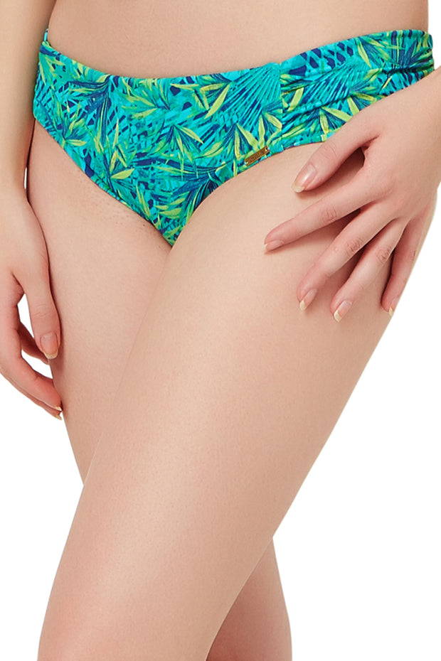 Ruched Bikini Bottom S / Tropical Palm Print - amanté Swimwear