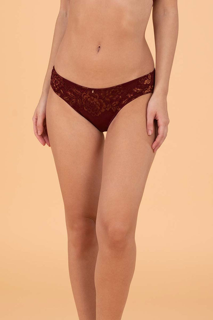 Lace Legacy Bikini Brief S / Burgundy Wine - amanté Pantie