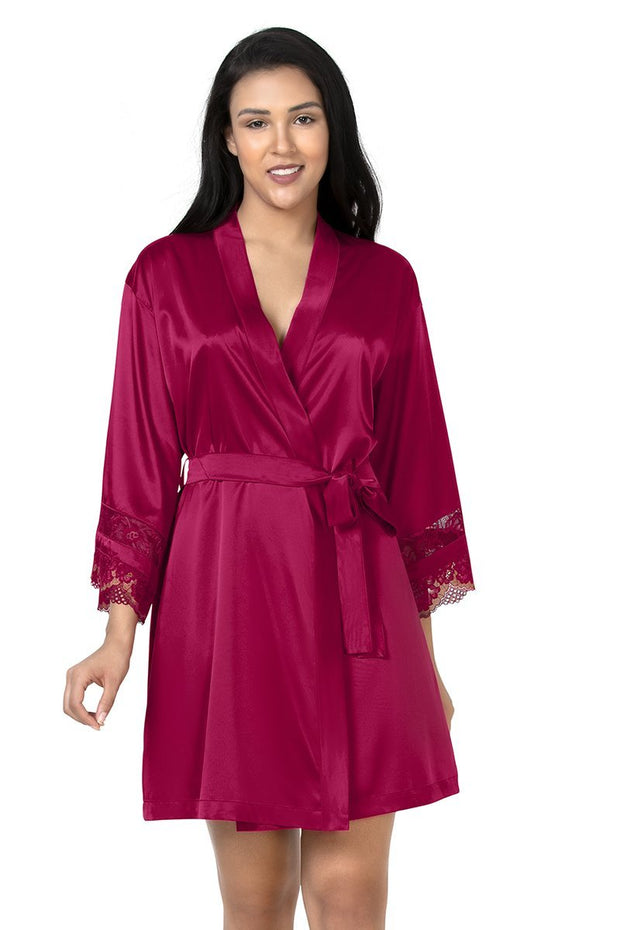 Eternal Romance Satin Lace Robe  - amanté Sleepwear
