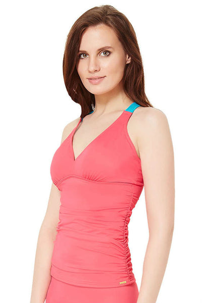 Ruched Tankini - Macrame Halter Neck