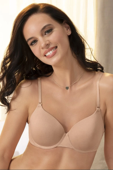 Signature Cotton Padded Wired Bra 34B / Sandalwood - amanté Bra