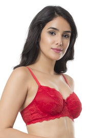 Poetess Non-Padded Wired Bra 32B / Haute Red - amanté Bra
