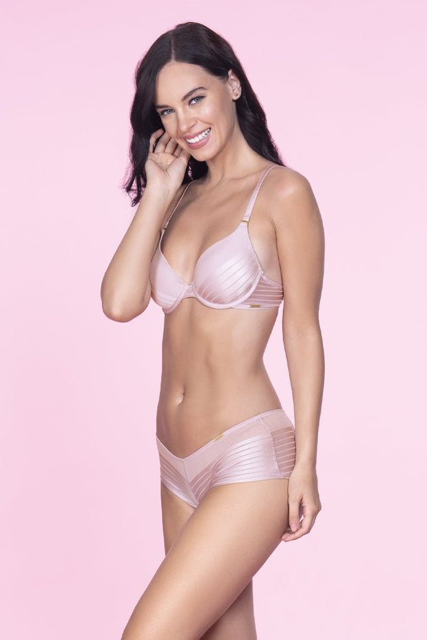 Sheer Stripes Padded Wired Bra  - amanté Bra