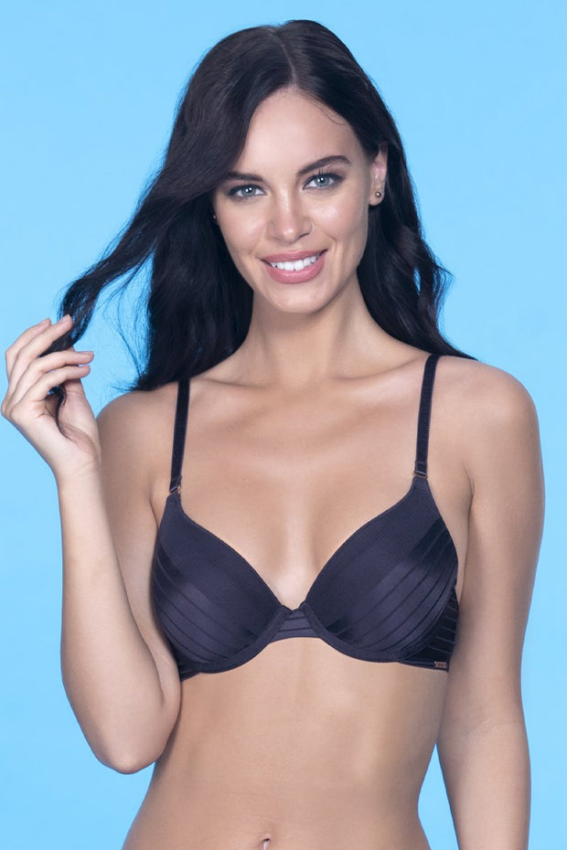 Sheer Stripes Padded Wired Bra 32B / Midnight - amanté Bra