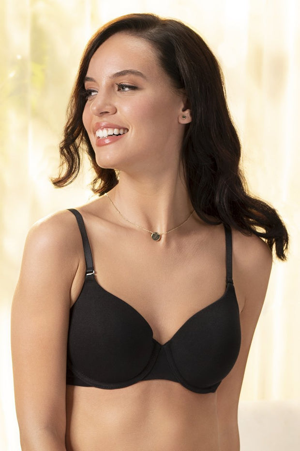 Signature Cotton Padded Wired Bra 34B / Black - amanté Bra