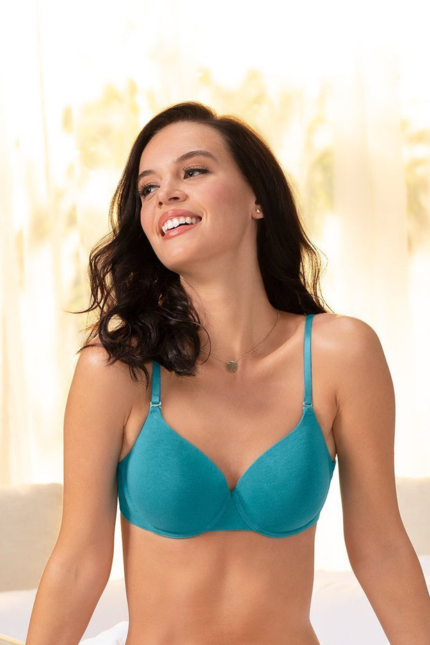 Signature Cotton Padded Wired Bra 34B / Tile Blue - amanté Bra
